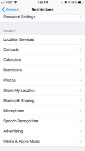 Restrictions Options - Share My Location