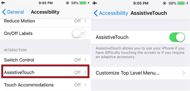 Locating AssistiveTouch Settings