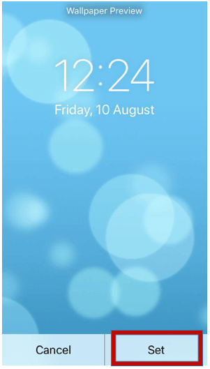 Set button for iPhone wallpaper