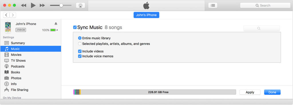 Syncing The Entire iTunes Library To Your Connected Device