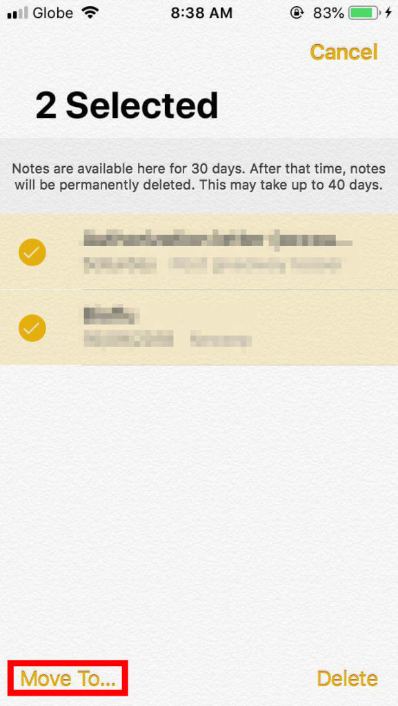 Restore Recently Deleted Notes iPhone