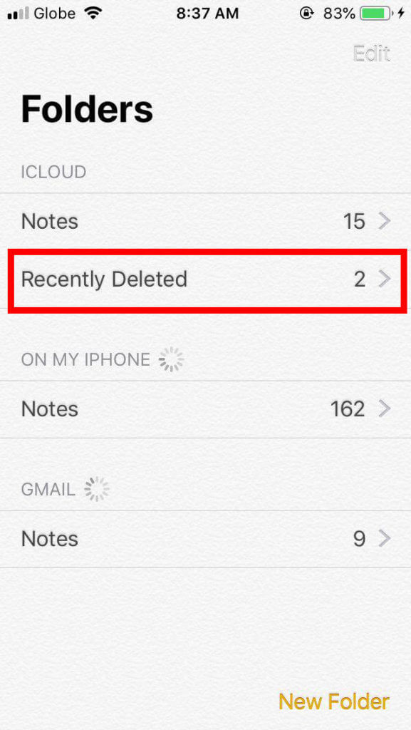 Accidentally restore deleted notes