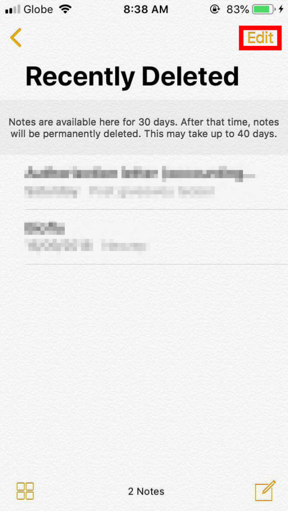 How to restore recently deleted notes iphone