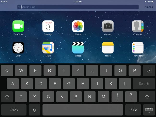 iPad Spotlight Search