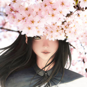 Girl In Cherry Blossoms