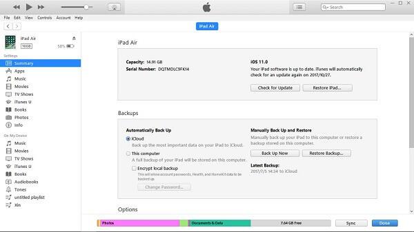 Restore iPad Through iTunes