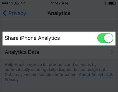 Don't Share iPhone Analytics