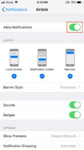 App Notifications Settings